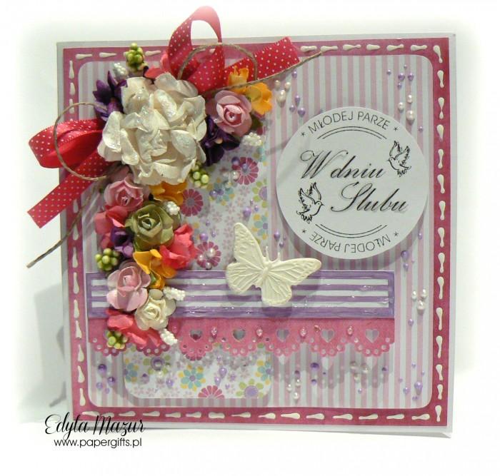 Różowo-fioletowa z motylem - kartka ślubna