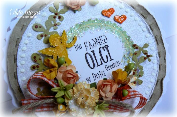 Żółto-pomarańczowa kartka z amorkiem i sercami na urodziny Oli1