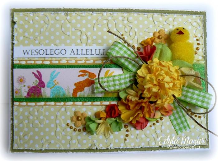 Żółty kurczaczek - kartka wielkanocna
