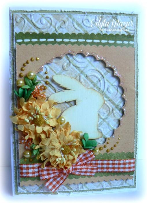 Biały zając - kartka  wielkanocna