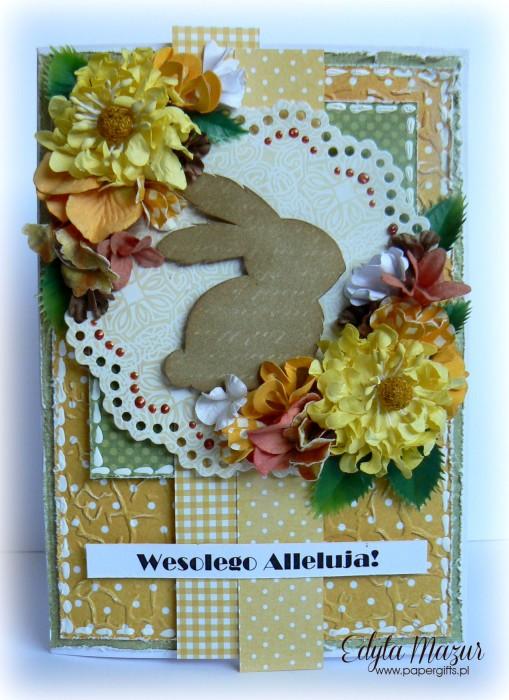 Brązowy zając - kartka  wielkanocna