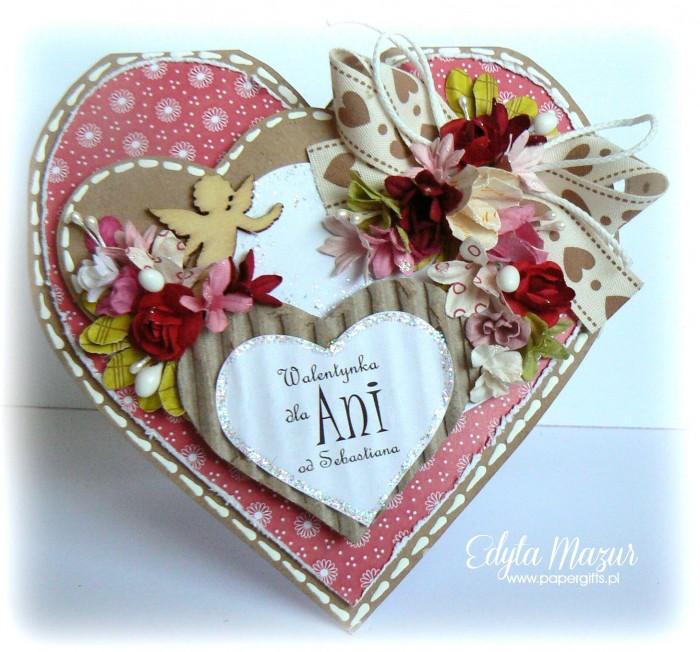 Czerwone serce z amorkiem - Walentynka dla Ani