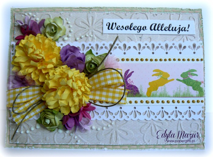 Fioletowo-żółto-zielone zające - kartka wielkanocna