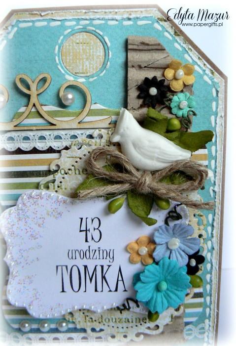 Kartka-tag niebiesko-brązowa z ptaszkiem na urodziny Tomka1