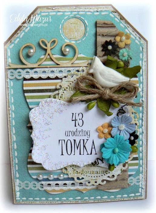 Kartka-tag niebiesko-brązowa z ptaszkiem na urodziny Tomka