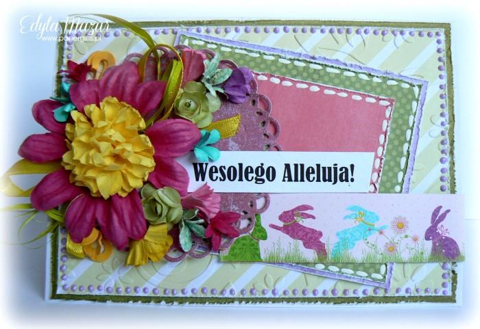 Kolorowe zające - kartka wielkanocna