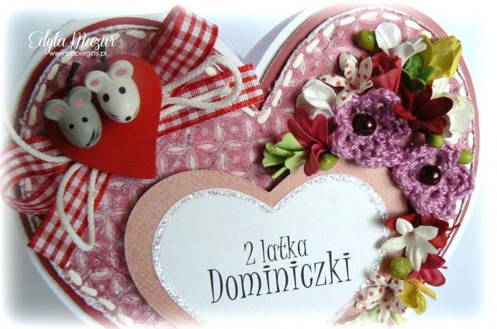 Różowe serce z myszkami na urodziny Dominiczki