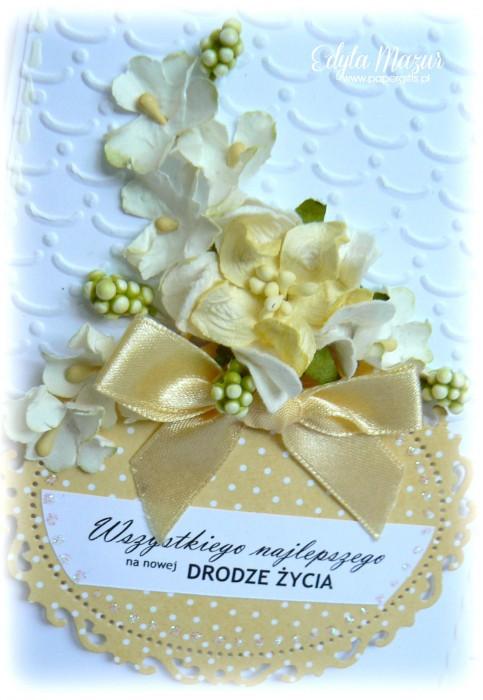 Żółty bukiet - kartka ślubna