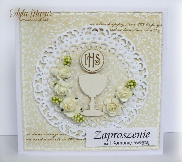 Beżowe z kielichem i białymi różami -Zaproszenie na Komunię Świętą