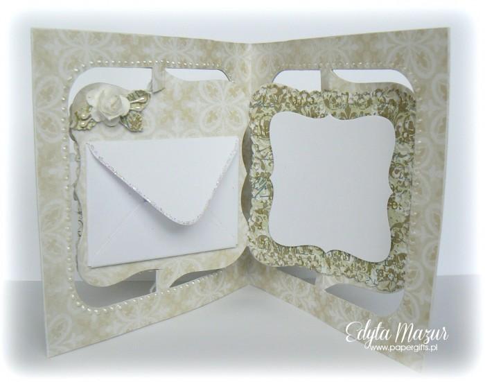 Białe serce na zielonym tle - Kartka na ślub - środek