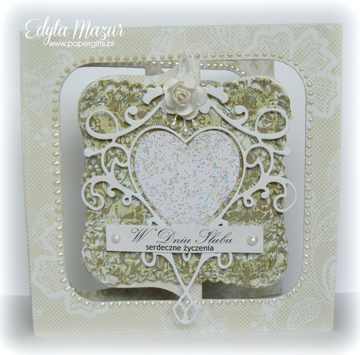 Białe serce na zielonym tle - Kartka na ślub