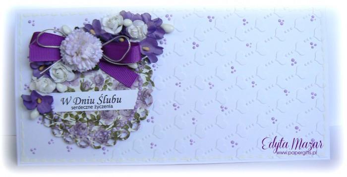 Fioletowy bukiet z sercami - kartka ślubna - Kopia