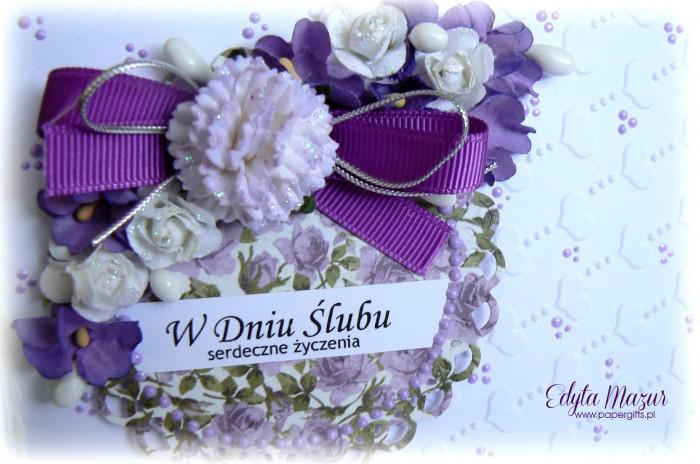 Fioletowy bukiet z sercami - kartka ślubna