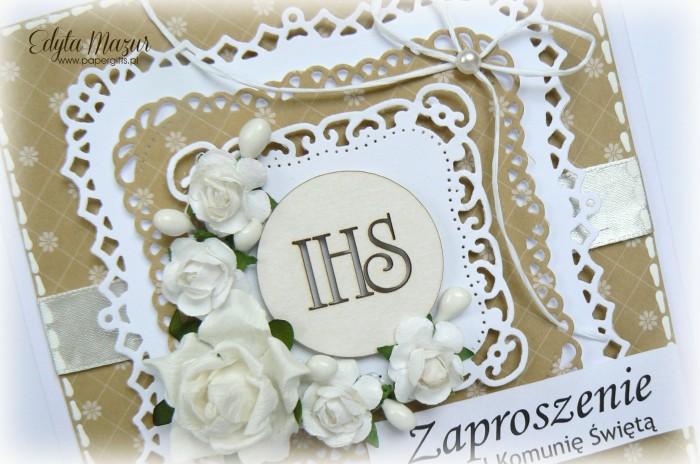 Miodowe z białymi różami - Zaproszenie na Komunię Świętą