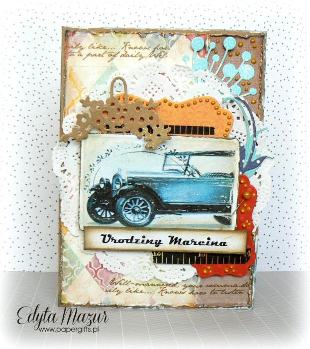 Niebieski samochód - kartka na urodziny Marcina
