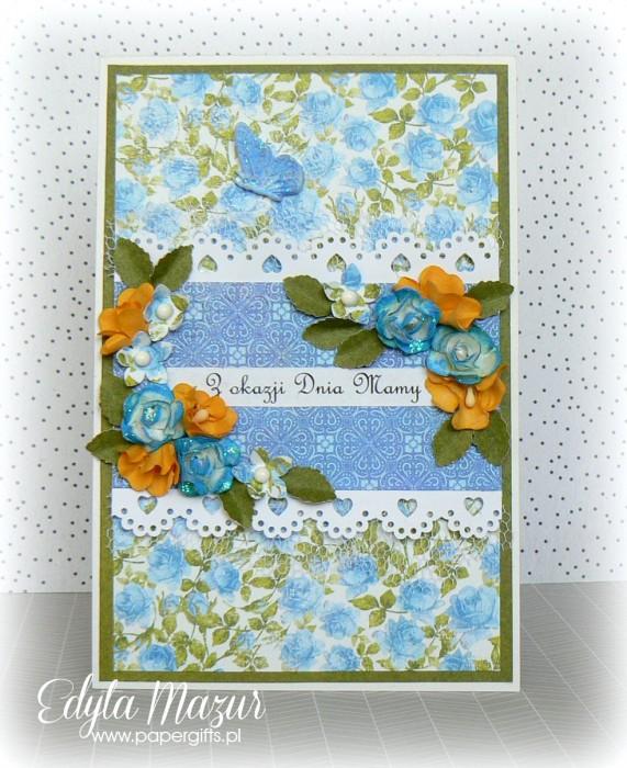 Niebieskie i żółte kwiaty - kartka z okazji Dnia Mamy
