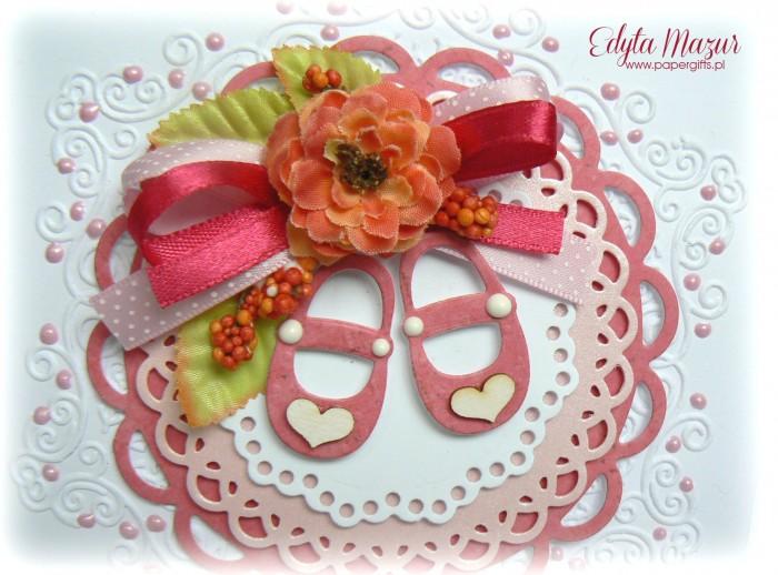 Różowe buciki - Pamiątka Chrztu Św