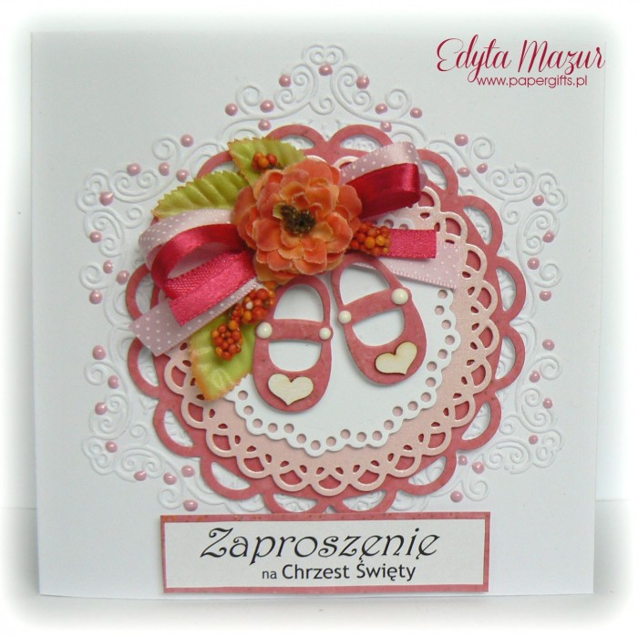 Różowe buciki - Zaproszenie na Chrzest Św