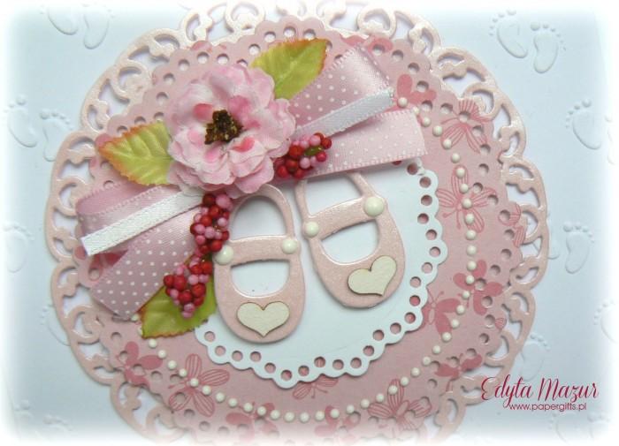 Stópki z różowymi bucikami - Pamiątka Chrztu Św.