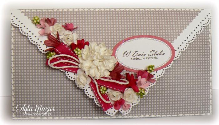 Szaro-czerwona kartka ślubna - kopertówka
