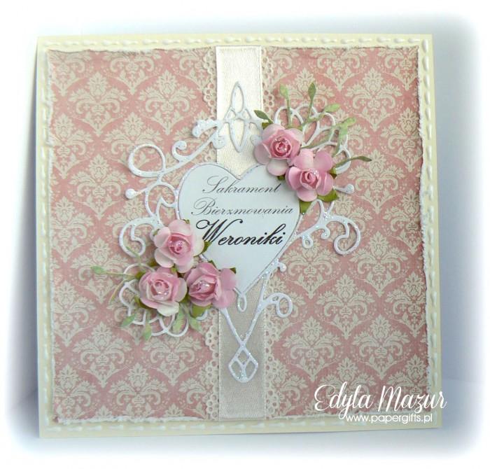 Damaski, serce i róże - kartka na bierzmowanie Weroniki