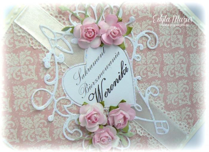Damaski, serce i róże - kartka na bierzmowanie Weroniki1