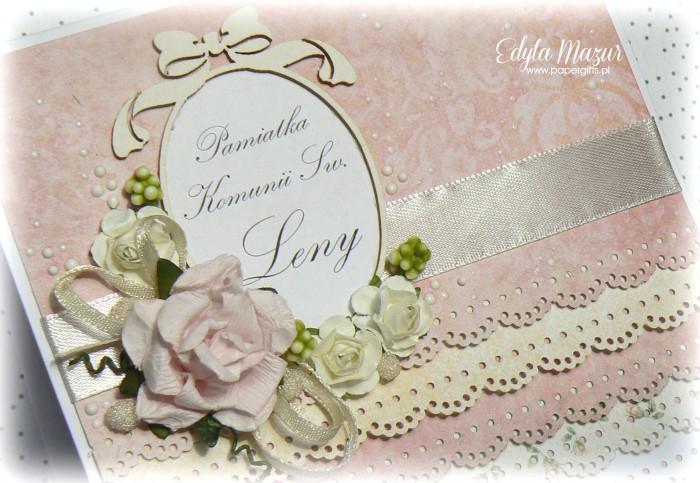 Pastelowe falbanki z ramką i różami - Pamiątka Komunii Św. Leny
