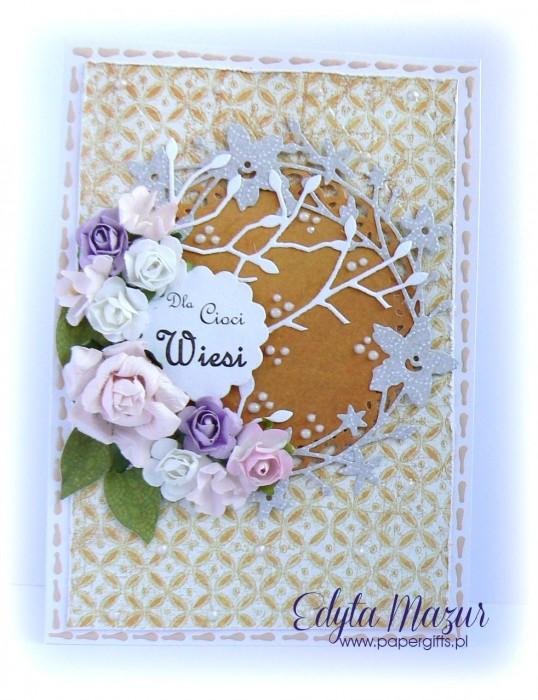 Pastelowy bukiet róż - kartka na urodziny