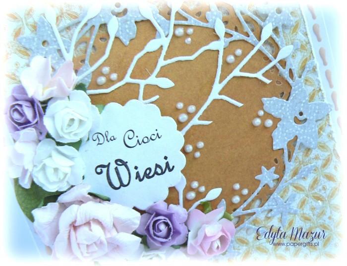 Pastelowy bukiet róż - kartka na urodziny1