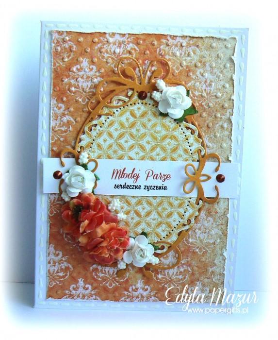 Pomarańczowa z różami - kartka na ślub