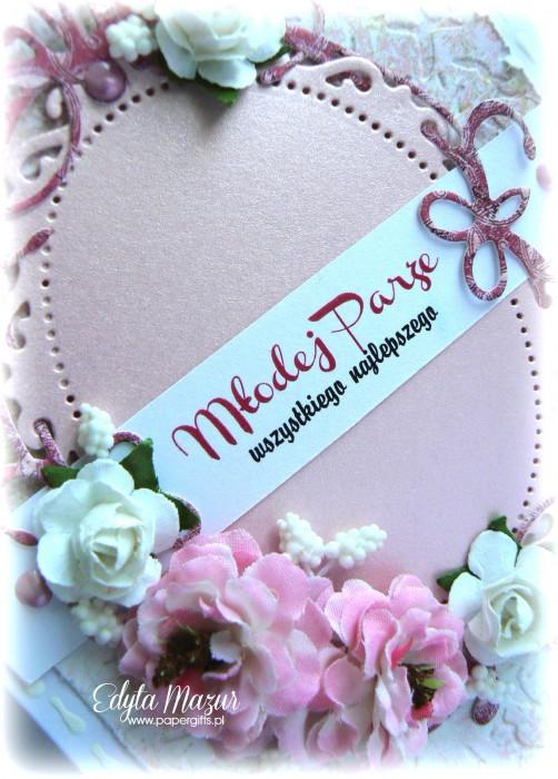 Różowa z różami - kartka na ślub