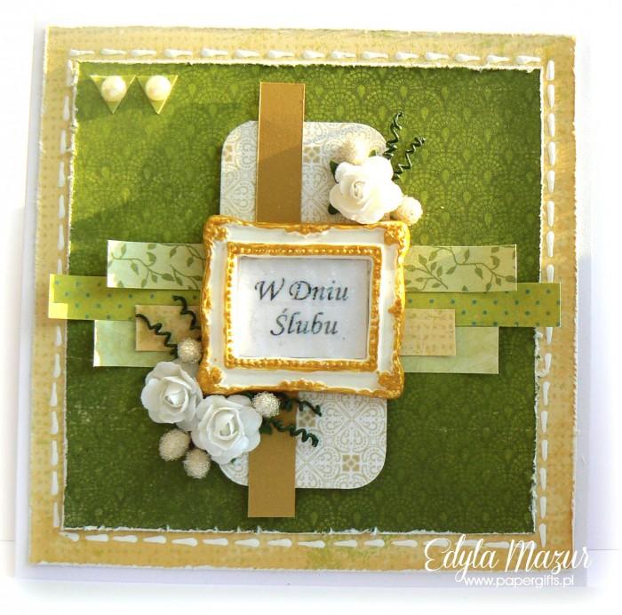 Zielona ze złotą ramką i różami - kartka na ślub