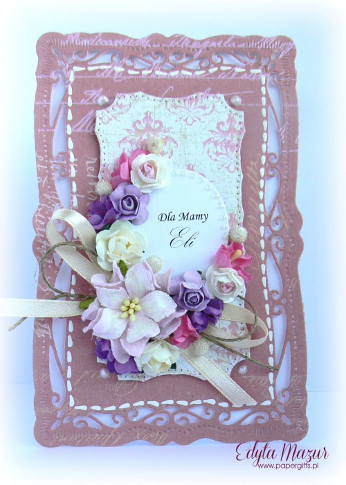 Łososiowa z bukietem kolorowych kwiatów - kartka z okazji Dnia Mamy
