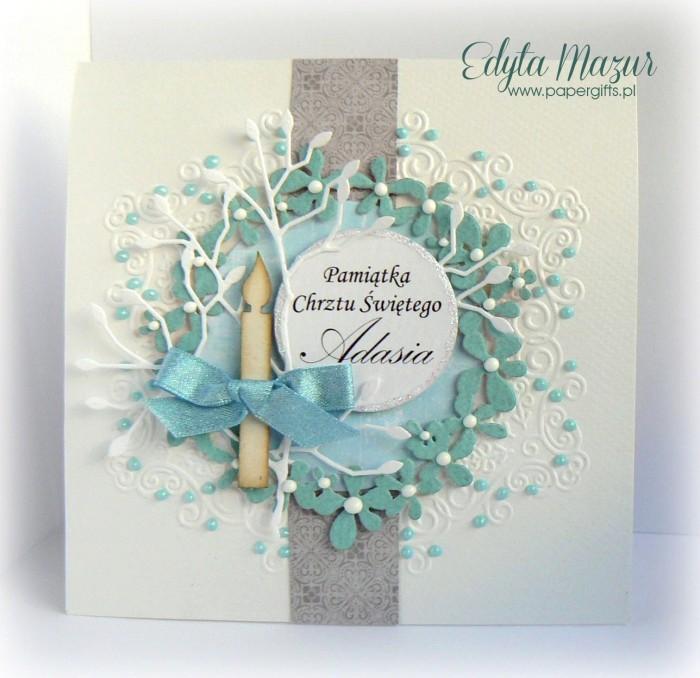 Błękitny wianek z kwiatów - Kartka na Chrzest Adasia