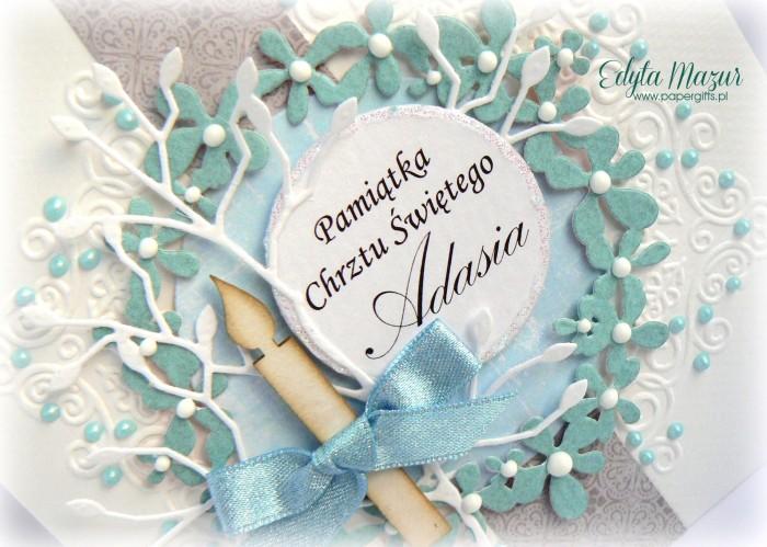Błękitny wianek z kwiatów - Kartka na Chrzest Adasia1