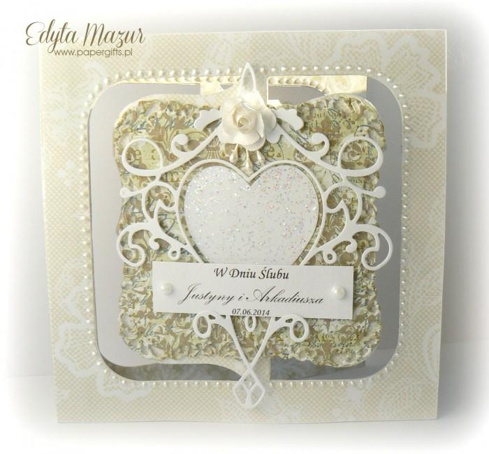 Białe serce na zielonym tle - Kartka na ślub Justyny i Arka