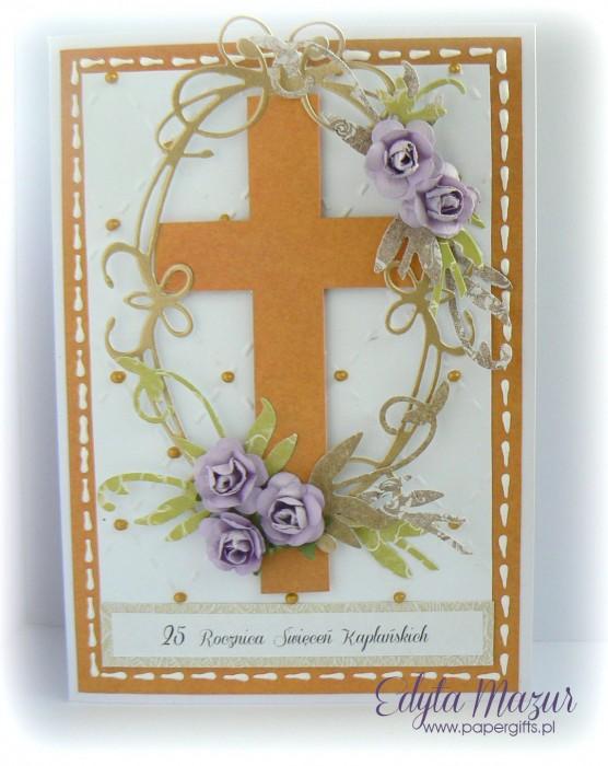 Biało-pomarańczowa z fioletowymi różami - Kartka na Rocznicę Święceń Kapłańskich