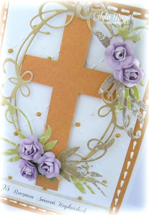 Biało-pomarańczowa z fioletowymi różami - Kartka na Rocznicę Święceń Kapłańskich1