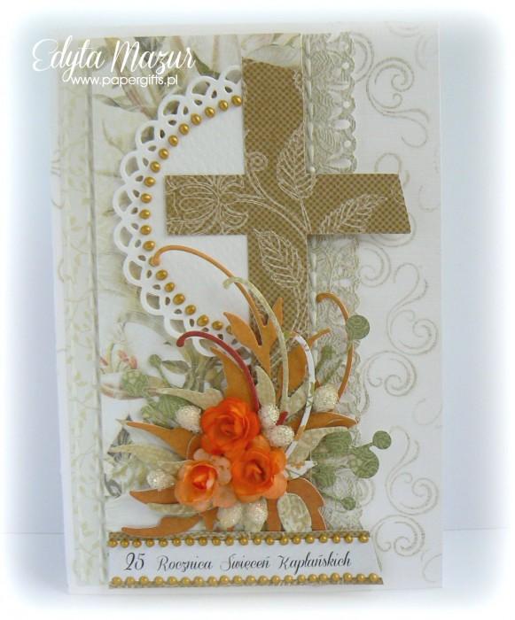 Biało-złota z pomarańczowymi różami - Kartka na Rocznicę Święceń Kapłańskich