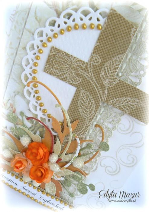 Biało-złota z pomarańczowymi różami - Kartka na Rocznicę Święceń Kapłańskich1
