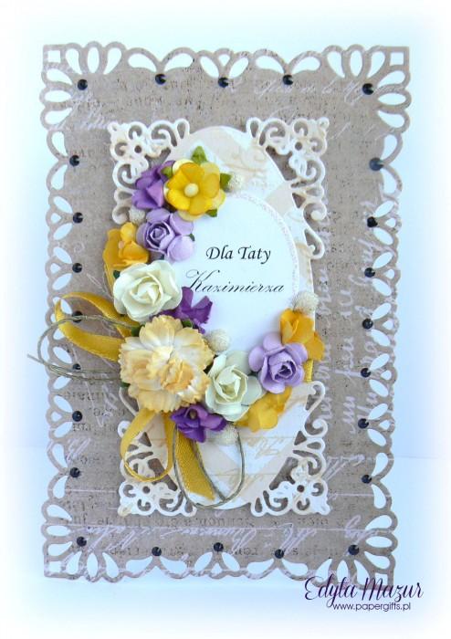 Brązowa z fioletowo-żółtymi kwiatami - Kartka z okazji Dnia Taty