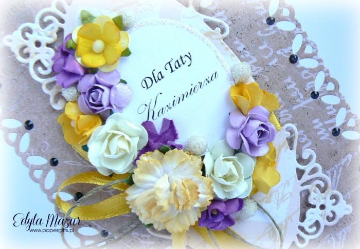 Brązowa z fioletowo-żółtymi kwiatami - Kartka z okazji Dnia Taty1