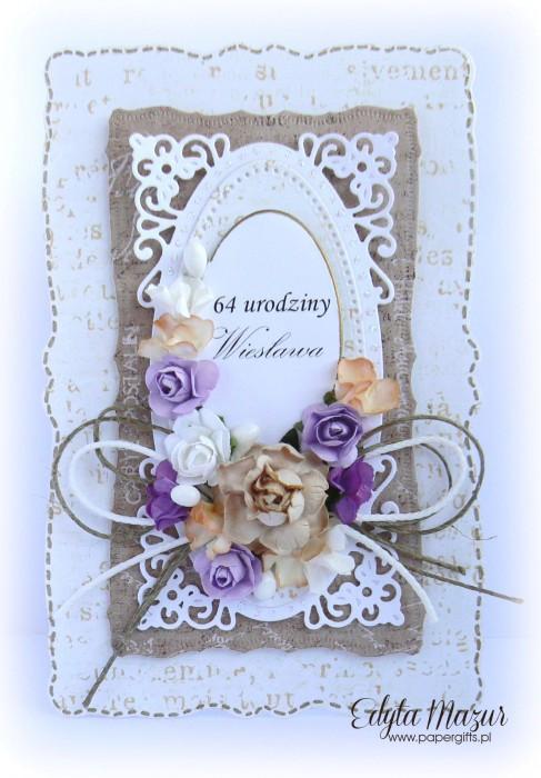 Brązowo-biała z kolorowymi kwiatami - kartka z okazji 64 urodzin