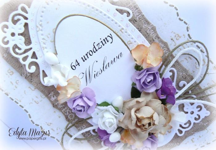 Brązowo-biała z kolorowymi kwiatami - kartka z okazji 64 urodzin1