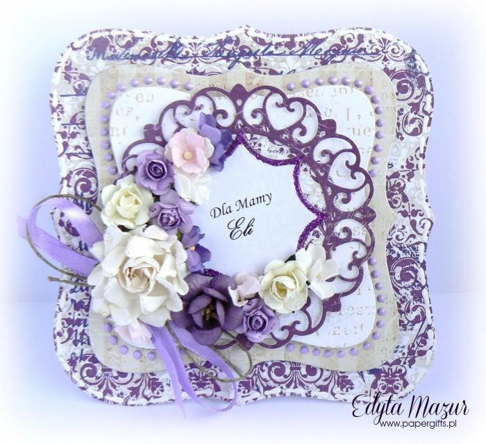 Fioletowe damaski z beżem - kartka z okazji Dnia Mamy