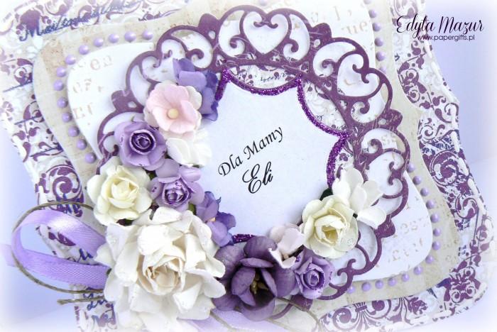 Fioletowe damaski z beżem - kartka z okazji Dnia Mamy1