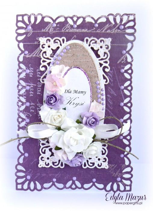 Fioletowo-biała - kartka z okazji Dnia Mamy