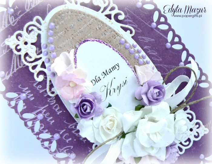 Fioletowo-biała - kartka z okazji Dnia Mamy1
