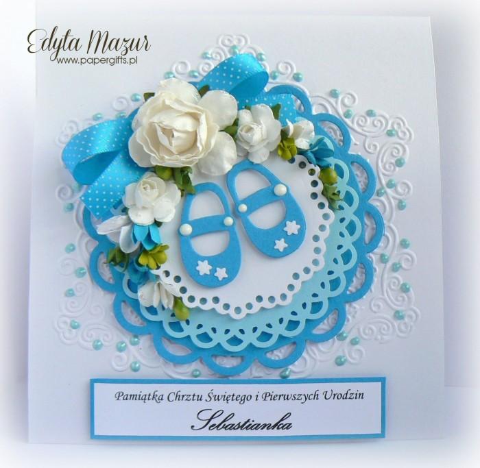 Niebieskie buciki - Pamiątka Chrztu Św. Sebastianka