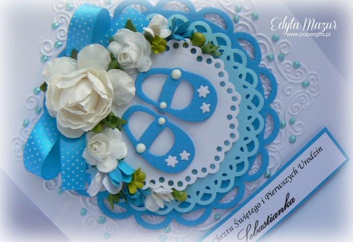 Niebieskie buciki - Pamiątka Chrztu Św. Sebastianka1